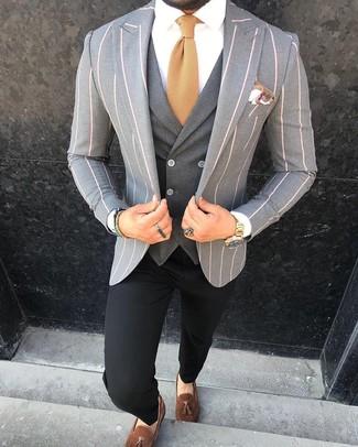 How to wear: black chinos, white dress shirt, charcoal waistcoat, grey vertical striped blazer