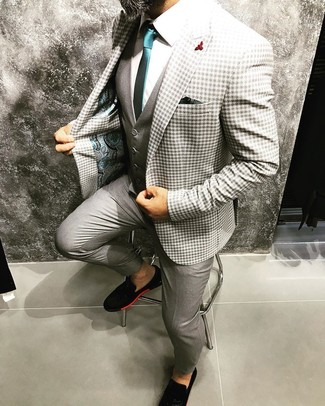 How to Wear a Grey Waistcoat: You'll be amazed at how extremely easy it is to get dressed this way. Just a grey waistcoat matched with grey dress pants. For something more on the relaxed end to round off this ensemble, complete this ensemble with a pair of black suede loafers.