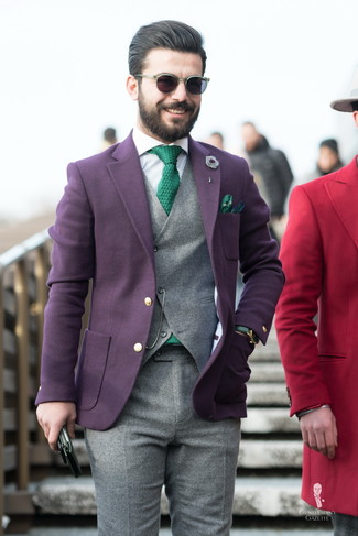 How to Wear a Dark Purple Wool Blazer For Men: Marry a dark purple wool blazer with grey wool dress pants and you'll be the picture of elegance.