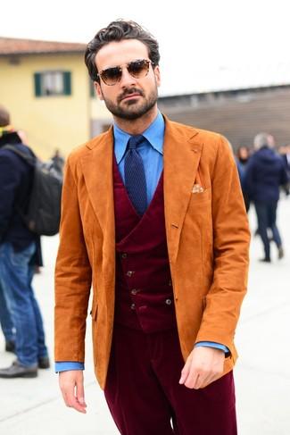 How to wear: burgundy corduroy dress pants, blue chambray dress shirt, burgundy corduroy waistcoat, orange suede blazer