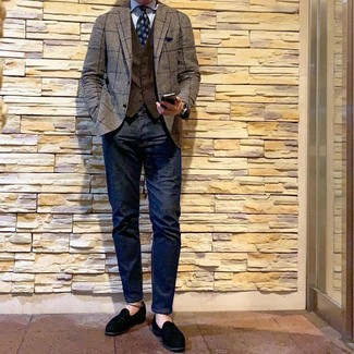 How to wear: navy jeans, light blue vertical striped dress shirt, dark brown waistcoat, brown check blazer