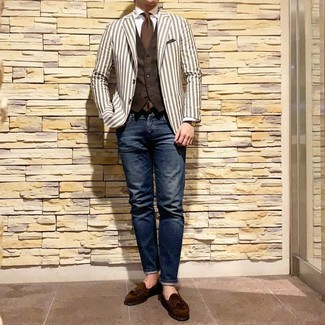 Men's Navy Jeans, White Dress Shirt, Dark Brown Waistcoat, White Vertical Striped Blazer