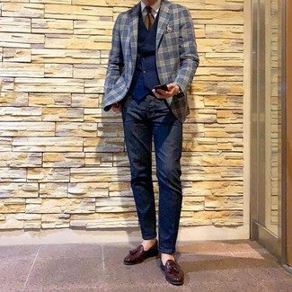 How to wear: navy jeans, white dress shirt, navy waistcoat, navy plaid blazer