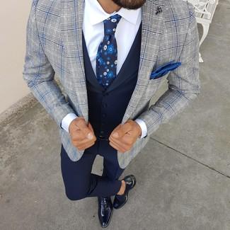 How to wear: navy dress pants, white dress shirt, navy waistcoat, grey plaid blazer
