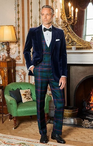 How to wear: dark green plaid dress pants, white dress shirt, dark green plaid waistcoat, navy velvet blazer