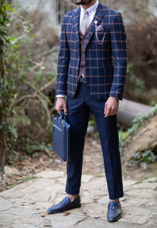 How to wear: navy dress pants, white dress shirt, brown waistcoat, navy check blazer