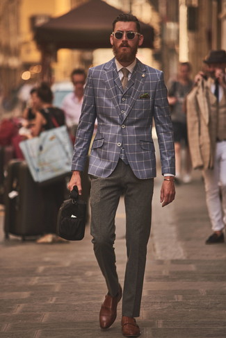 How to Wear a Navy Check Waistcoat In a Dressy Way: For an ensemble that's sophisticated and Bond-worthy, consider pairing a navy check waistcoat with charcoal wool dress pants. Complement this outfit with brown leather double monks to infuse a dose of stylish effortlessness into this ensemble.