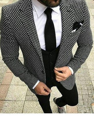 How to Wear a Black Knit Tie For Men: A black and white print blazer looks especially classy when paired with a black knit tie in a modern man's combination. This look is finished off really well with grey leather tassel loafers.