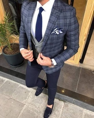 How to Wear a Navy Knit Tie For Men: This pairing of a navy plaid blazer and a navy knit tie will add sophisticated essence to your ensemble. When it comes to shoes, complement your look with a pair of navy suede double monks.