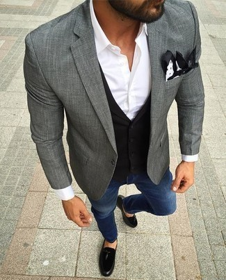 How To Wear a Waistcoat With Tassel Loafers: This combo of a waistcoat and blue jeans is a never-failing option when you need to look really stylish. Why not take a classic approach with footwear and complement your ensemble with a pair of tassel loafers?