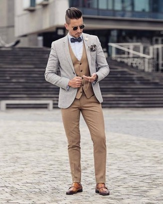 How to Wear a Navy and White Print Pocket Square: A grey blazer and a navy and white print pocket square are great menswear items to integrate into your current casual rotation. Rounding off with tobacco leather double monks is the simplest way to inject a dash of elegance into this outfit.