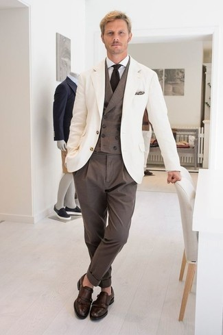 How to Wear Dark Brown Leather Double Monks: Undeniable proof that a white blazer and brown dress pants look amazing when worn together in a classy look for a modern gentleman. Throw in a pair of dark brown leather double monks et voila, the ensemble is complete.