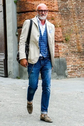 How to Wear a Beige Blazer For Men: This combo of a beige blazer and blue ripped jeans delivers comfort and utility and helps you keep it low-key yet contemporary. Want to go all out with shoes? Introduce dark brown suede loafers to the mix.