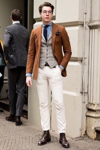 How to Wear White Chinos: Pair a tobacco blazer with white chinos and be prepared to be recognized as a men's fashion guru. On the footwear front, this outfit is complemented really well with dark brown leather casual boots.