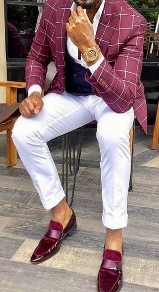 How to Wear a Navy Waistcoat: A navy waistcoat and white chinos make for the ultimate stylish outfit. Add a pair of burgundy velvet loafers to the equation et voila, this ensemble is complete.