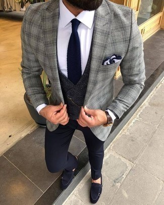 How to Wear a Navy Check Waistcoat In a Dressy Way: Put your sartorial beast mode on in a navy check waistcoat and navy dress pants. Feeling brave today? Switch things up by rocking navy suede double monks.