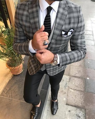 How to Wear Black Leather Double Monks: This combo of a grey plaid blazer and black dress pants couldn't possibly come across other than incredibly sharp and polished. The whole outfit comes together really well if you complement your look with black leather double monks.