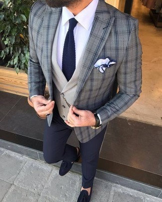 How to Wear Navy Suede Tassel Loafers: This combination of a grey plaid blazer and navy dress pants is ideal when you need to look really polished. Add navy suede tassel loafers to the equation and the whole look will come together.