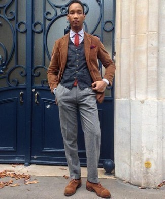 How to Wear a Coat For Men: Wear a coat and grey dress pants for a neat elegant menswear style. A trendy pair of brown suede oxford shoes is the simplest way to upgrade this getup.