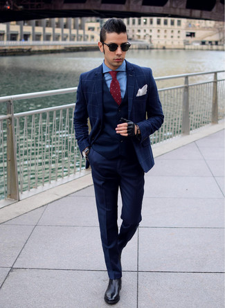 How to wear: navy dress pants, blue dress shirt, navy waistcoat, navy check blazer