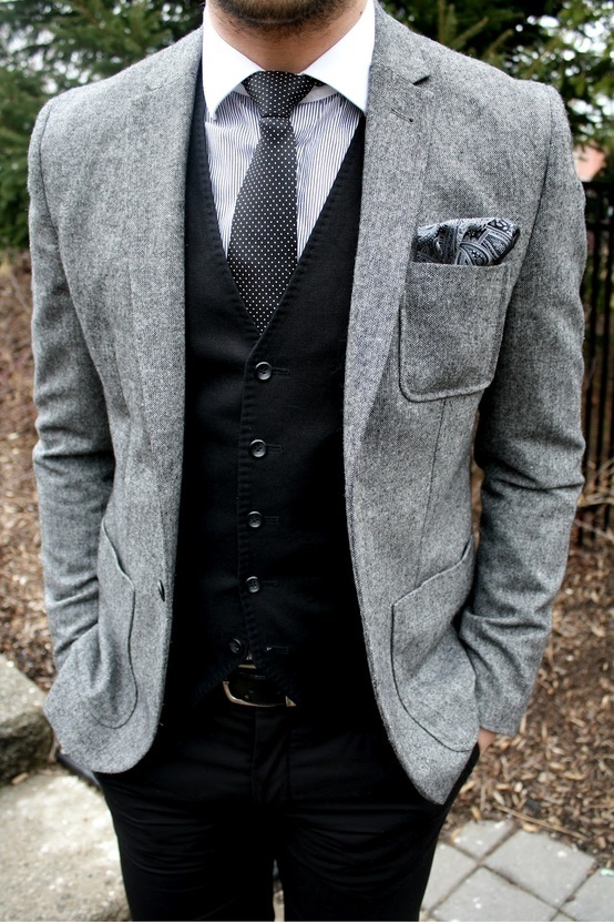 How To Wear a Grey Wool Blazer With a White Vertical Striped Dress Shirt  For Men (7 looks   outfits)  e3b0e300f78f