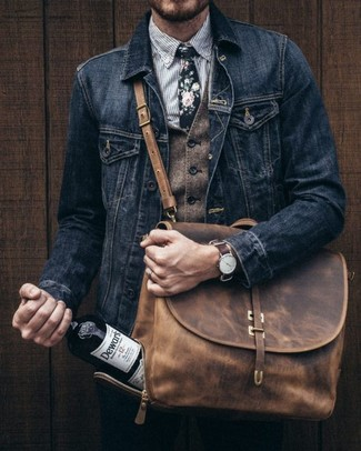 How to wear: black chinos, grey vertical striped dress shirt, brown wool waistcoat, black denim jacket