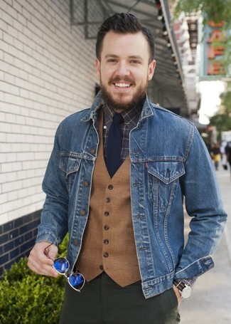 How to wear: olive chinos, dark brown check dress shirt, tan wool waistcoat, blue denim jacket