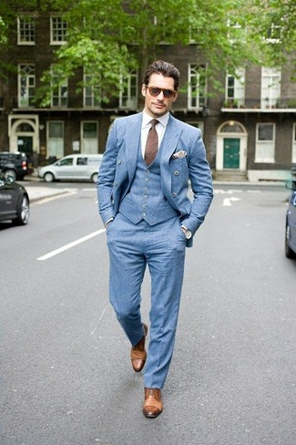 How to Wear a Light Blue Waistcoat: This is solid proof that a light blue waistcoat and light blue dress pants look amazing when you pair them up in a refined ensemble for a modern guy. Ramp up your whole ensemble by finishing off with tan leather derby shoes.