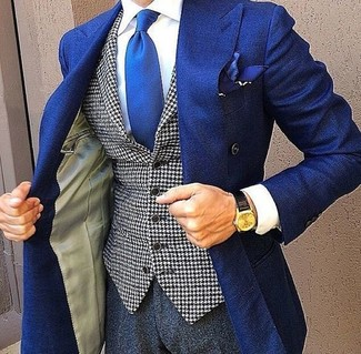 How to wear: charcoal dress pants, white dress shirt, white and black houndstooth waistcoat, blue double breasted blazer
