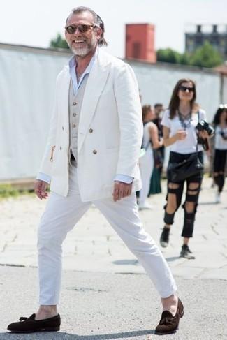 Men's White Chinos, Light Blue Dress Shirt, Beige Waistcoat, White Double Breasted Blazer