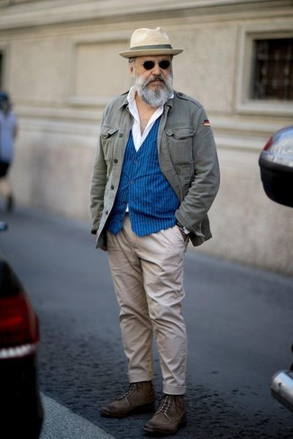 How to wear: beige chinos, white dress shirt, blue vertical striped waistcoat, grey military jacket