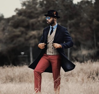How to wear: burgundy dress pants, light blue dress shirt, beige plaid waistcoat, navy overcoat
