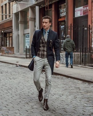 How to Wear a Dark Brown Leather Watch For Men: This combination of a black overcoat and a dark brown leather watch gives off a laid-back and approachable vibe. And if you want to effortlessly lift up this getup with one single piece, why not introduce dark brown leather chelsea boots to the equation?