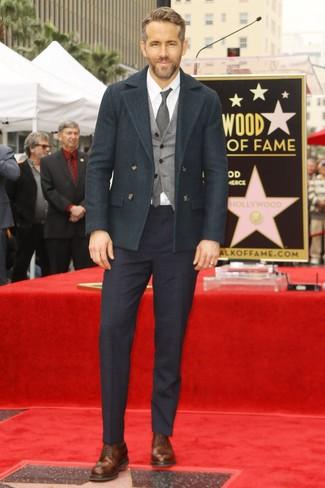 How to wear: navy plaid dress pants, white dress shirt, grey wool waistcoat, dark green pea coat