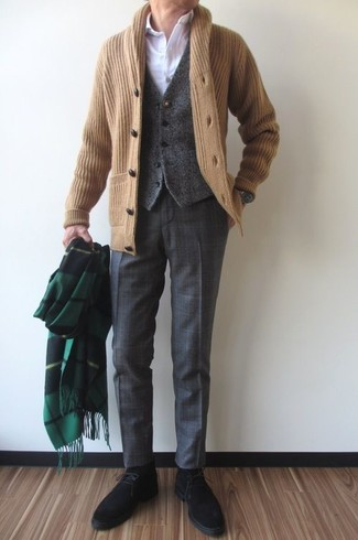 How to wear: charcoal plaid dress pants, white dress shirt, charcoal wool waistcoat, tan shawl cardigan