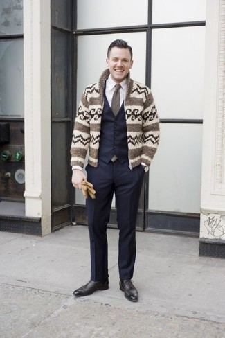 How to Wear Navy Dress Pants For Men: A beige fair isle shawl cardigan and navy dress pants are definitely worth being on your list of closet essentials. Inject your ensemble with a hint of sophistication by finishing with a pair of black leather oxford shoes.