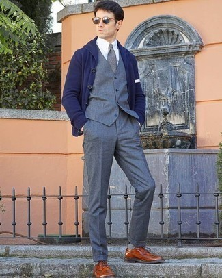 How to Wear Grey Socks For Men: You're looking at the definitive proof that a navy shawl cardigan and grey socks look amazing when worn together in a casual outfit. Wondering how to finish off your getup? Rock tobacco leather brogues to rev up the fashion factor.