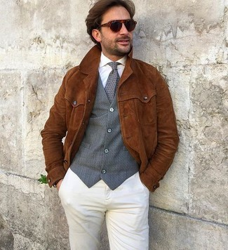 How to wear: beige chinos, white dress shirt, grey waistcoat, tobacco suede shirt jacket
