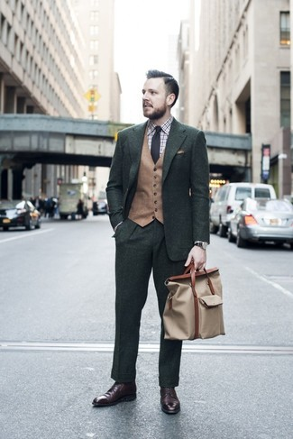 How to wear: dark brown leather dress boots, white and brown plaid dress shirt, tan wool waistcoat, dark green suit