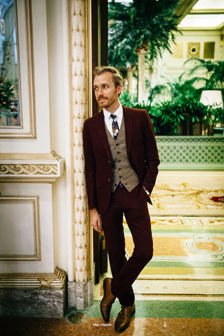 How to wear: brown leather double monks, white dress shirt, brown wool waistcoat, burgundy suit