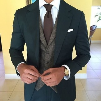 How to wear: dark brown knit tie, white dress shirt, dark brown wool waistcoat, teal suit