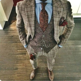Silk Pocket Square Brown One Size
