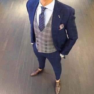 How to wear: dark brown leather double monks, white dress shirt, grey check waistcoat, navy check suit
