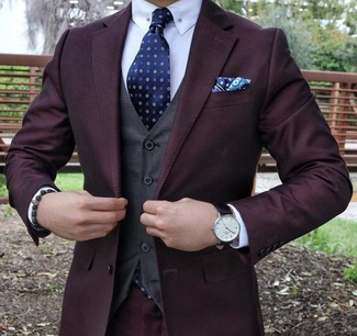 How to wear: navy print tie, white dress shirt, charcoal waistcoat, dark purple suit