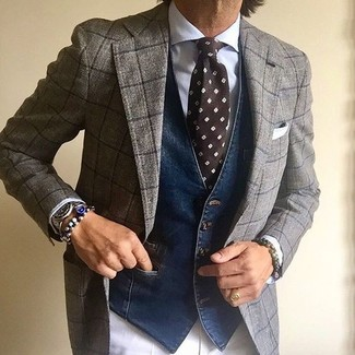 How to Wear an Olive Bracelet For Men: If you're looking for a casual but also on-trend look, dress in a grey check wool suit and an olive bracelet.