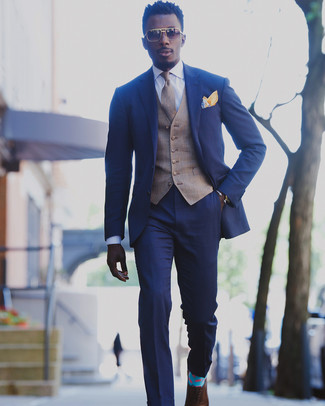 How to wear: brown leather oxford shoes, white dress shirt, brown plaid waistcoat, blue suit