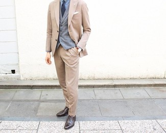 How to wear: dark brown leather oxford shoes, light blue dress shirt, grey plaid waistcoat, tan suit