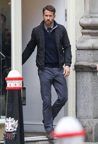 How to wear: charcoal chinos, light violet dress shirt, navy zip neck sweater, black bomber jacket