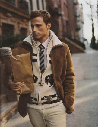 How to wear: beige dress pants, light violet dress shirt, beige knit zip sweater, brown shearling coat
