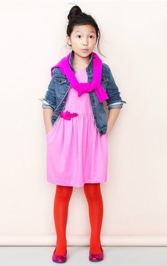 How to wear: hot pink ballet flats, pink dress, hot pink sweater, blue denim jacket